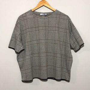 Zara Houndstooth Check Oversized Fit Top
